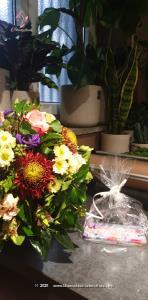 Dieser bunte Blumenstrauss macht Freude in allen Lebenslagen. Damit gelingt die Überraschung bestimmt.    Ob Geburtstagswünsche, Dankeschön, zum Muttertag oder einfach so, dieses Blumengeschenk passt zu jedem Anlass. Mit Ihrem Blumengruss wird eine Tafel Schweizer Milchschokolade (100 g) von Munz in einer liebevoll gestalteten Geschenkdose überbracht. Überraschen Sie durch süsse Grüsse mit feinster Schweizer Milchschokolade zum Geburtstag, Valentinstag, Muttertag, als Dankeschön oder `einfach so`.    Das Bild entspricht der mittleren Preisvariante und die Vase ist nicht inbegriffen. Auf Wunsch finden Sie diese in der Kategorie Vasen.