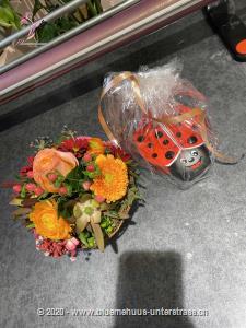 Klein, fein, mit leuchtenden Farben, überzeugt dieses Körbchen. Es passt zum Geburtstag, als kleines Dankeschön oder `Gute Besserung`-Geschenk. Zu diesem Blumengruss wird eine Packung Schoggi-Glückskäfer von Munz kombiniert.    Diese originelle Packung beinhaltet 32 kleine Glückskäfer, 150g feinste schweizer Milchschokolade mit Pralinéfüllung.    Das Bild entspricht der mittleren Preisvariante. Das Gefäss kann vom Bild abweichen.