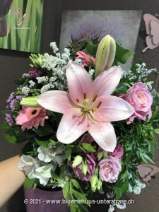 Dieser Traum in Pastell eignet sich für alle, die zarte Farbtöne bevorzugen. Mit seinem romantischen Aussehen eignet er sich sowohl als Geburtstagswunsch, Dankeschön, Liebeserklärung oder einfach so.    Das Bild entspricht der mittleren Preisvariante und die Vase ist nicht inbegriffen. Auf Wunsch finden Sie diese in der Kategorie Vasen.